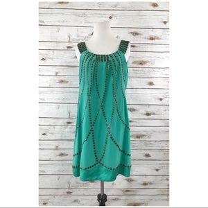 Nanette Lepore Dress Silk Sz 8 Green Helen Of TROY